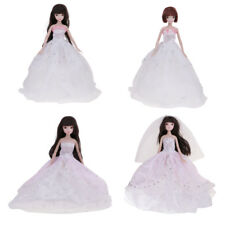 White/Pink Fashion Doll Party Dress Wedding Clothes Gown+Hat for Barbie Doll