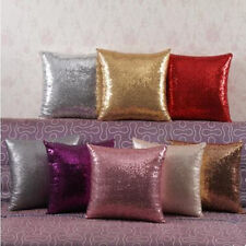 Glitter Sequins Pillow Case Cafe  Lounge Home Decor Cushion Cover 16'' 8 Colors