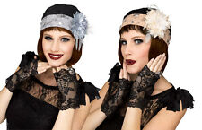 1920's Flapper Charleston Grey~Cream Lace Feather Hat With Gloves Fancy Dress