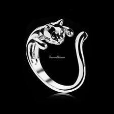 Silver Color Cat Shaped Lovely Kitten Tail Open Rings with Black SH