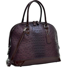 Dasein Ostrich Faux Leather Dome Satchel with Patent