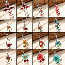 New Handmade Nature Dried Flower Rose Clear Glass Pendant Necklace Women Jewelry