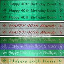 Personalised 40th Birthday Ribbon Celebration Party Banner 1 Metre Long