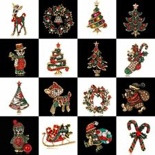New Christmas Crystal Santa Deer Brooch Pin Wedding Party Xmas Tree Gift Jewelry