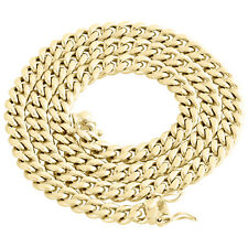 Mens 10K Yellow Gold Hollow Miami Cuban Link Chain 7.50mm Box Clasp 22-30 Inches