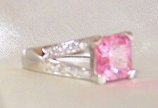 925 Sterling Silver Pink and Clear CZ Ring.
