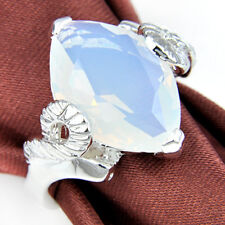 Special Gift Horse Eye Shaped Rainbow Moonstone Silver Wedding Ring Size 7 8 9