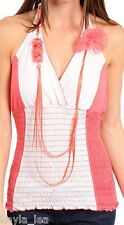 Coral/White Smocked Fitted Waist Halter Top w/ Beaded Necklace S/M/L