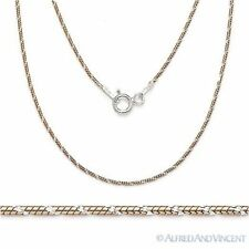 .925 Sterling Silver 14k Rose Gold Plated 1mm Snake Link Chain Italian Necklace