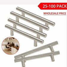 LOT Stainless Steel T bar Silver Kitchen Cabinet Door Handles Drawer Pulls Knobs