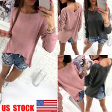 US Women Long Sleeve Casual Knit Sweater Zippered Back Split Top Crew Neck Shirt
