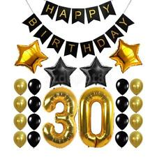 Gold Black Birthday Banner 30th 40th 50th 60th Birthday Foil Balloons Decoration