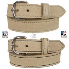 BEIGE LADIES BULLHIDE LEATHER STITCHED BELT Choice of Stitching HANDMADE in USA