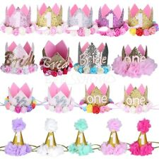 1st Party Birthday Crown Flower Tiara Headband for Baby Girls Hair Band Headwear