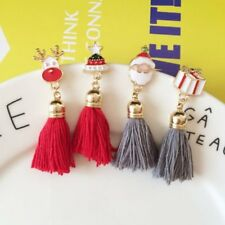 New Christmas Santa Tree Santa Silk Tassel Brooch Pin Xmas Costume Women Jewelry