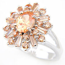 Multi Gems Natural Champange Topaz Platinum Plated Ring US Size 7 8