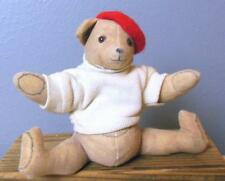 """Vintage Toy Works Teddy Bear with Beret Designed by Michael Hague 6"""" Sitting USA"""