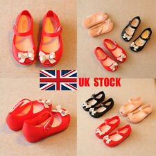 UK Kids Girls Cute Buckle Flat Bow Tie Jelly Sandals Princess Baby Shoes Size