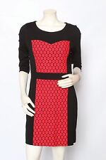 KENSIE Rogue Combo Red Lace Knit Stretch 3/4 Sleeve Dress - size XS S M L XL