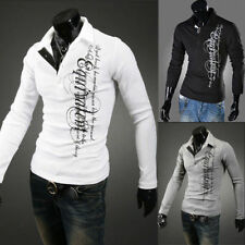 Hot Mens Stylish Slim Fit Casual Fashion T-shirts Polo Shirt Long Sleeve Tops ij