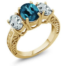 3.24 Ct London Blue Topaz Sky Blue Aquamarine 18K Yellow Gold Plated Silver Ring
