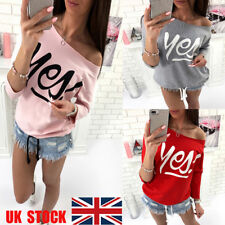 UK Womens Long Sleeve Top One Shoulder T-Shirt Loose Lace Up Shirt Casual Blouse
