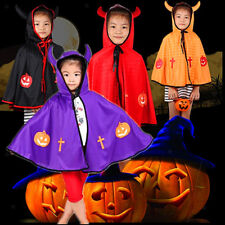 Childrens Fancy Dress Hooded Cloak Cape with Horns Halloween Costume Fancy Dress