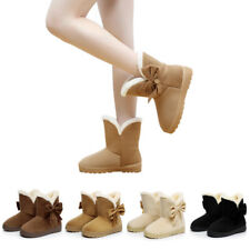Women Suede Bow-Knot Slip On Flat Ankle Boot Ladies Faux Fur Warm Casual Shoes