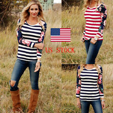 US Women Floral Striped Patchwork Long Sleeve Blouse Casual Tops Ladies T-Shirt