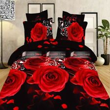 Duvet Cover Pillowcase Quilt Bedding Set 3D Red Rose Double Queen Size Bed New