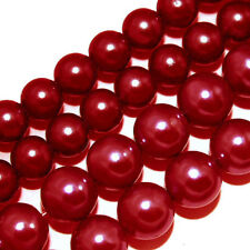 GLASS PEARLS JEWELRY BEADS RED COLOR 4MM 6MM FAUX PEARL BEAD STRAND GP29