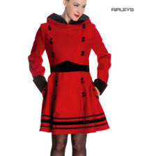 Hell Bunny 50s Vintage Rockabilly Winter Coat SOFIA Bright Red/Black All Sizes