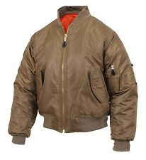MA-1 Style Flight Jacket US Navy Air Force Army USMC USN Aviation Bomber C-Brown