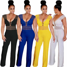Women Hollow out Jumpsuits Rompers Sleeveless Lace Up V Neck Wide Leg long Pants