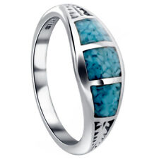 925 Sterling Silver Turquoise Gemstone inlay Southwestern Style 7mm Ring TBRS016