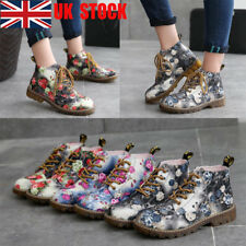 UK Women Flat Ankle Boots Floral Lace Up Chunky Lady Casual Round Toe Shoes Size