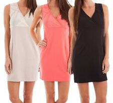 Sylc Camisa Dress with Sheer Mesh Back Sleeveless Solid Surplice Juniors New