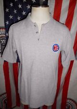 VTG True Fan Chicago Cubs MLB Baseball S/S Polo Shirt LARGE gray embroidered 90s