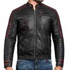 Affliction Black Premium - STREET FIGHTER - PU Leather Men's Biker Jacket - Moto