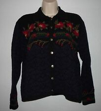 TALBOTS Petite Embroidered Cardigan Sweater MP M P Silk Blend Pewter Buttons