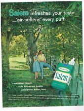 """1960 Salem Cigarette Ad; Salem Refreshes Your Taste """"Air Softens"""" Every Puff"""