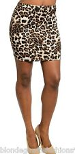 Brown/Beige Leopard Fitted Bodycon Pencil Mini Skirt