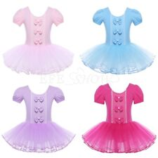 Girls Princess Ballet Dance Tutu Dress Kids Bowknot Gymnastics Costume Leotard