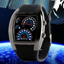 Mens Luxury Aviation Turbo LED Watch Dial Flash Car Meter Sports Wristwatches