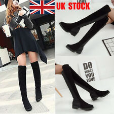 UK Women Over Knee Boots Thigh High Flat Low Mid Block Heel Stretch Shoes Size