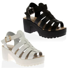 NEW WOMENS PLATFORM LADIES STRAPPY CHUNKY PEEP GLADIATOR SANDALS SHOES SIZE 3-8