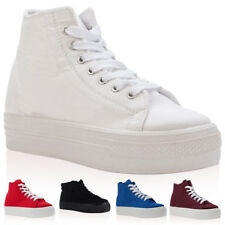 WOMENS CANVAS LACE UP LADIES HI TOP PLATFORM TRAINERS CREEPERS SHOES SIZE 3-8 UK