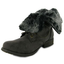 BNIB NEW LADIES BROWN FAUX FUR MILITARY BOOTS SIZE 3-8