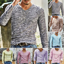 Mens Fit Long Sleeve T-Shirt V Neck Shirts Casual Tops Autumn Basic Tee Pullover