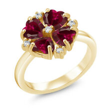 2.48 Ct Heart Shape Red Created Ruby 18K Yellow Gold Plated Silver Ring
